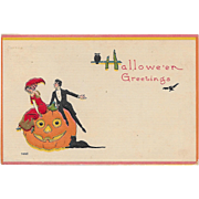 Vintage Halloween Postcard - Fancy Dressed Couple on JOL By Bergman 1912