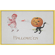 Vintage Halloween Postcard Little Girl Chased By Cat Disguised As JOL