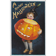Vintage Halloween Postcard By E. Clapsaddle Boy & JOL