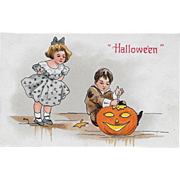 Vintage Halloween Postcard - Boy Carving Pumpkin JOL By H.B. Griggs