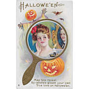 Vintage Halloween Postcard Woman In Mirror JOL Bats By Stetcher