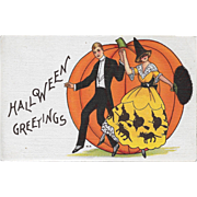 Vintage Halloween Postcard - Couple At Halloween Party By M. Evans Price
