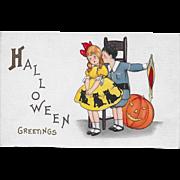 Vintage Halloween Postcard Boy Teasing Girl JOL By M. Evans Price