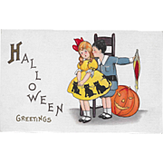 Vintage Halloween Postcard Boy Teasing Girl JOL By M. Evans Price