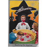 Vintage Halloween Postcard - Ducking For Apples