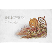 Vintage Halloween Postcard - Halloween Greetings JOL Fishing - 1913