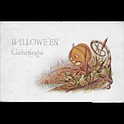 Vintage Halloween Postcard - Halloween Greetings JOL Fishing - 1913