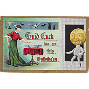 Vintage Halloween Postcard - Guid Luck - JOL Man 1909
