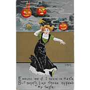Vintage Halloween Postcard Frightened Woman With JOL Monsters By HB Griggs