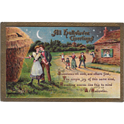 Vintage Halloween Postcard - All Hallowe'en Greetings - Villagers - 1910