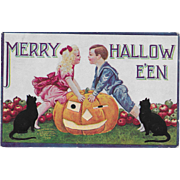 Vintage Halloween Postcard - Merry Halloween - Boy, Girl, Black Cats & JOL 1908