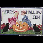 Vintage Halloween Postcard - Merry Halloween - Boy, Girl, Black Cats & JOL 1908