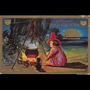 Vintage Halloween Postcard Little Witch, Cauldron & Cat 1910