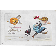Vintage Halloween Postcard, Boy with JOL and Girl with Black Cat 1914