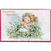 Vintage Valentine's Day Postcard She's A Daisy By J. Johnson