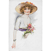 Vintage Postcard Rieuse De Paris Signed S. Meunier French Postcard Woman Bonnet Flowers