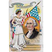 Vintage Patriotic George Washington & Lady Liberty Postcard Dated 1909