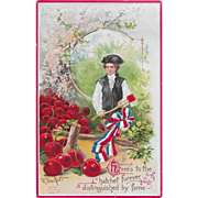 Vintage George Washington Postcard With Ax & Cherry Tree Signed R. Veentliet