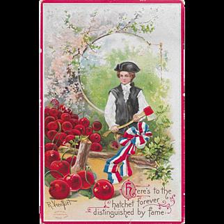 Vintage George Washington Postcard With Ax & Cherry Tree Signed R. Veentliet