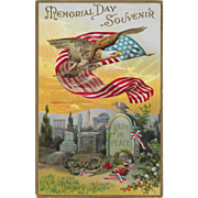 Vintage Patriotic Postcard Memorial Day Souvenir Eagle, US Flag & Tombstone