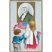Vintage Patriotic Postcard Children With US Flag & George Washington