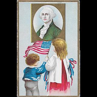Vintage Patriotic Postcard Children With US Flag & George Washington