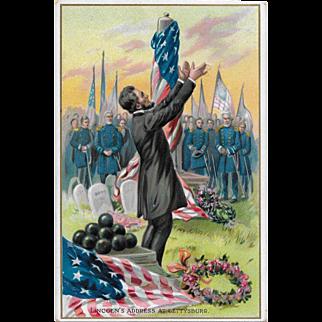 Vintage Tuck's Patriotic Political Postcard Lincoln's Address At Gettysburg