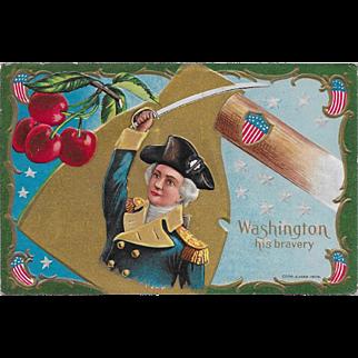 Vintage Patriotic Political President Postcard George Washington His Bravery