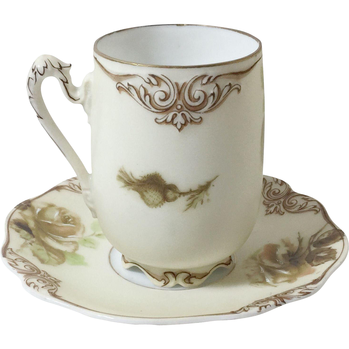 Old Ivory Empire Chocolate Cups & Saucers Set of 6