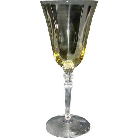 Fostoria Depression Glass Goblet, Yellow and Crystal