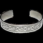 Vintage  Native American Navajo Sterling Silver Bear Symbol and Bear Paw Cuff Bracelet