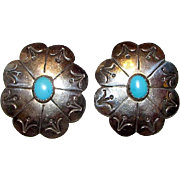 Old Pawn Native American Navajo Sterling Silver Turquoise Pierced Statement Earrings Concho Design