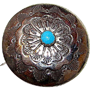 Native American Old Pawn Navajo Sterling Silver Turquoise Brooch Pin