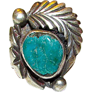 Vintage Old Pawn Native American Navajo Sterling Silver Turquoise Statement Ring Size 7.5 Squash Blossom Design