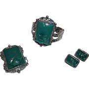 Pre Eagle Taxco Mexican Sterling Silver 925 Green Agate Carved Aztec Warrior Design Cuff Bracelet Earrings Brooch Set
