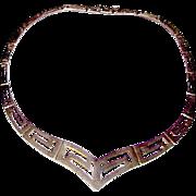 Sterling Silver 925 Greek Key Design Necklace