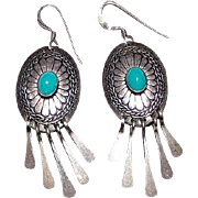 Vintage Native American Navajo Sterling Silver Turquoise Pierced Dangle Earrings Concho Design