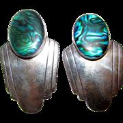 Vintage Sterling Silver Blue Paua Shell MOD Native American Navajo Large Statement Pierced Earrings