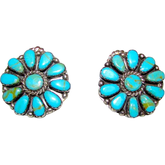 Native American Navajo Sterling Silver Turquoise Pierced Earrings By Sold Ruby Lane