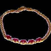 Estate Vintage 10K Yellow Gold Ruby Bracelet