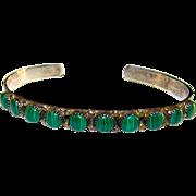 Native American Navajo Annabelle Peterson Sterling Silver Malachite Cuff Bracelet