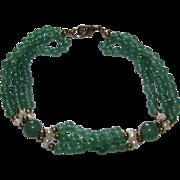 Vintage Green Jade Jadeite Pearl Beaded Bracelet