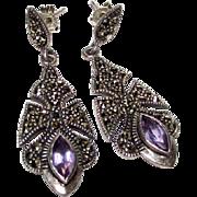 Art Deco Sterling Silver 925 Marcasite Amethyst Pierced Dangle Statement Earrings