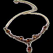 Vintage Sterling Silver 925 Smoky Quartz Drop Necklace