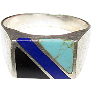 Sterling Silver 925 Turquoise Lapis Onyx Inlay Taxco Mexican Sterling Gentleman's Ring Size 14 Man's Ring