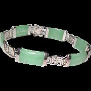 Green Jade Jadeite Sterling Silver 925 Chinese Prosperity, Longevity, Good Fortune Symbols Link Bracelet