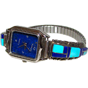 Vintage Native American Zuni Sterling Silver Turquoise Lapis Inlay Lady's Watch Band with Watch Mosaic Inlay Design