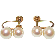 Cultured 7mm and 6mm Akoya Pearl 14K Solid Gold Screw Back Earrings Fine Estate Jewelry