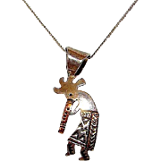 Vintage NAVAJO Native American Sterling Silver 12k Gold Kokopelli Pendant Necklace by the Collectible Navajo Artist Ray Tafoya