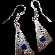 Vintage Native American Navajo Sterling Silver Blue Lapis Pierced Dangle Earrings